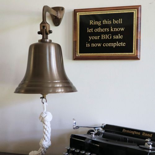 8 Inch Antique Bell With Plaque